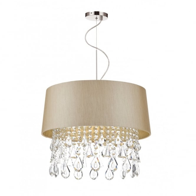 The Lighting Book GERALDINE taupe ceiling pendant with crystal glass droplets