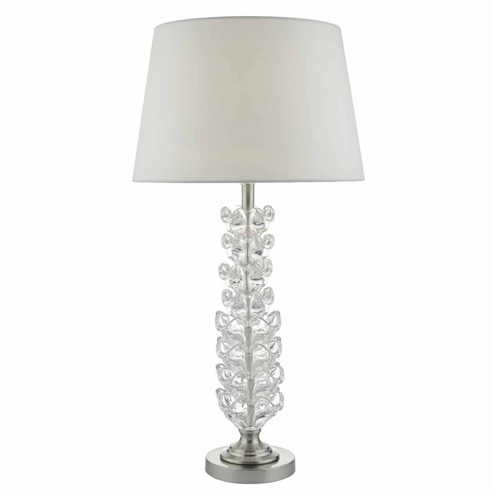 GHANA Decorative Clear Glass and Satin Nickel Table Lamp Base