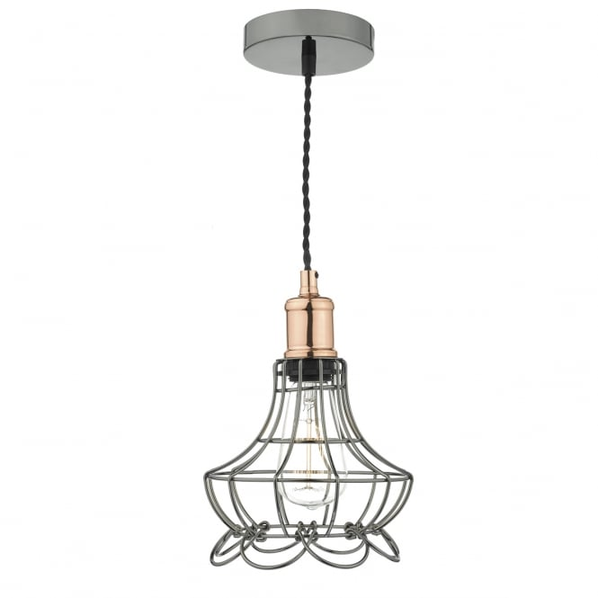 The Lighting Book GINNY single black and chrome cage ceiling pendant