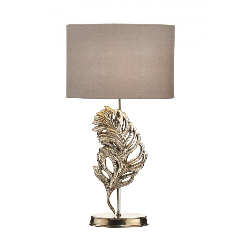 Antique Silver Table Lamp 24 Cream Accent Lighting: Contemporary Antique Silver Feather Table Lamp With Shade