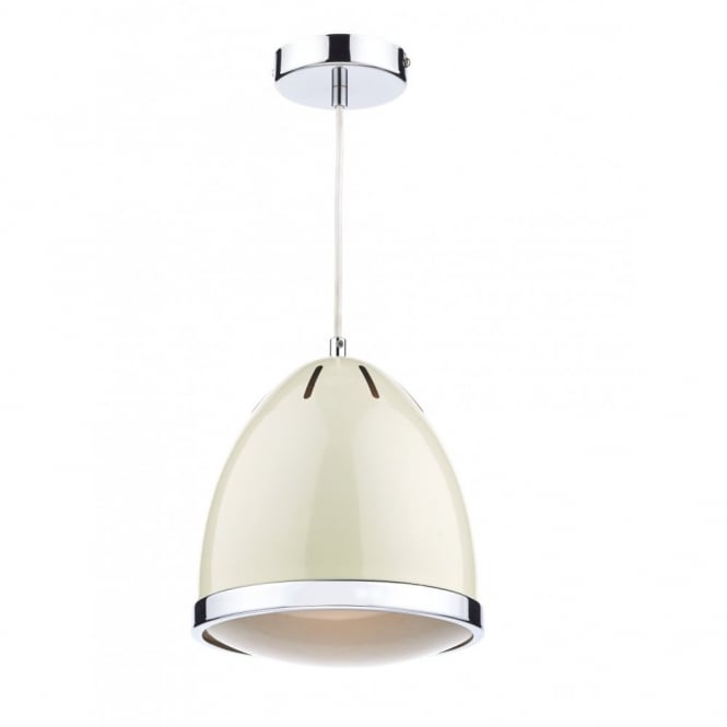 The Lighting Book GOMEZ cream & polished chrome ceiling pendant
