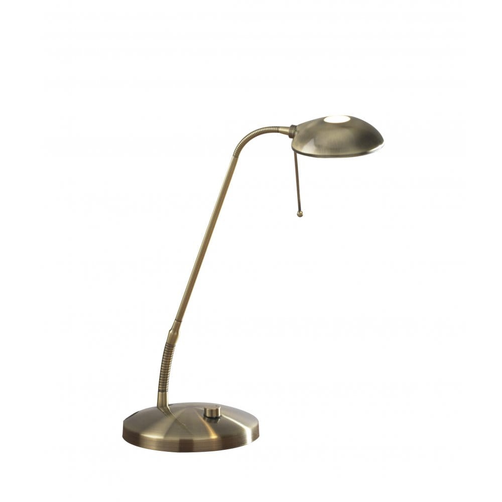 antique brass desk lamp with adjustable flexible head. Black Bedroom Furniture Sets. Home Design Ideas