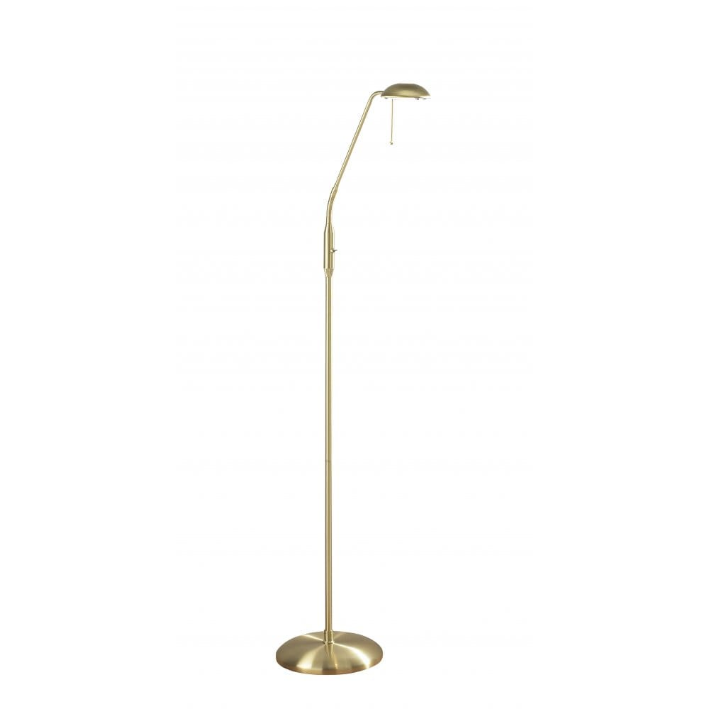 Floor lamp for reading in satin brass with flexible head for Chunky brass floor lamp