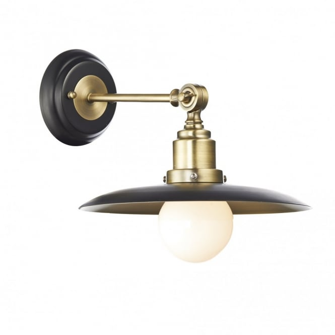 The Lighting Book HANNOVER retro single wall light in black & antique brass