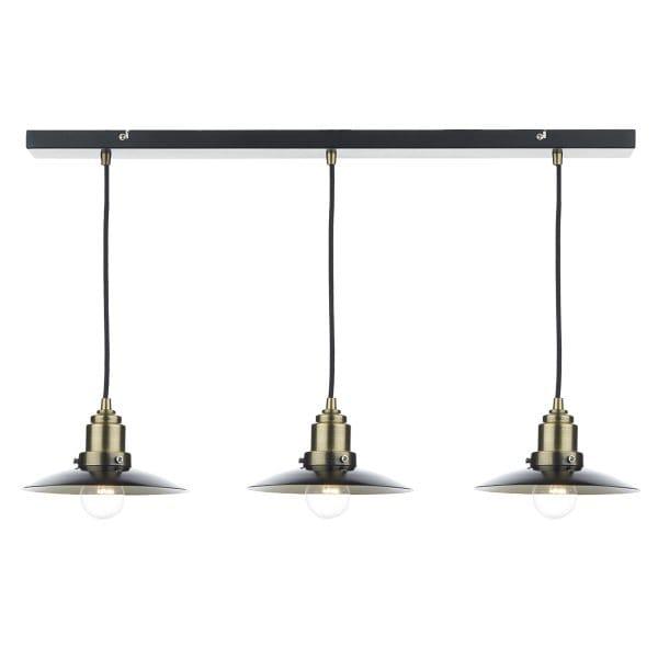 Rustic Black & Antique Brass 3 Light Ceiling Bar Pendant