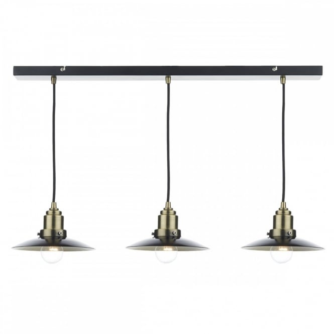 The Lighting Book HANNOVER rustic black & antique brass 3 light ceiling bar pendant