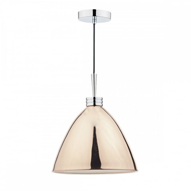 The Lighting Book HASANA contemporary copper ceiling pendant with polished chrome detail and gloss white inner