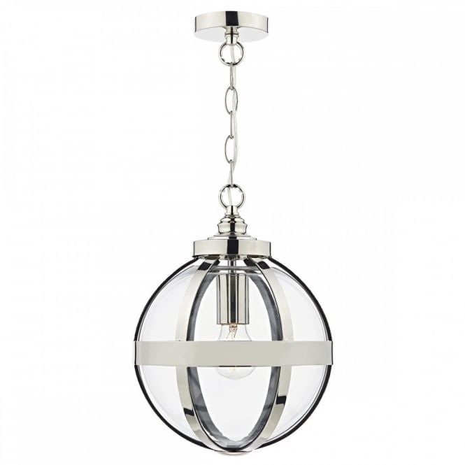 HEATH polished nickel and glass globe ceiling pendant