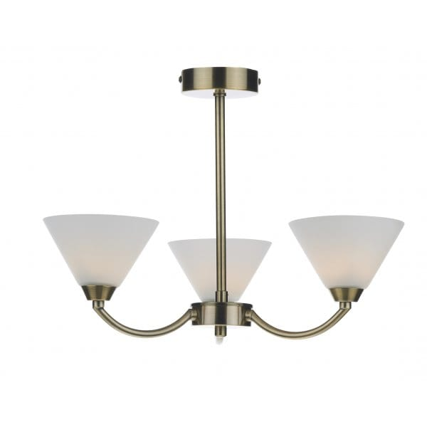 Modern Semi Flush Ceiling Light In Brass Finish And Opal Glass Shades