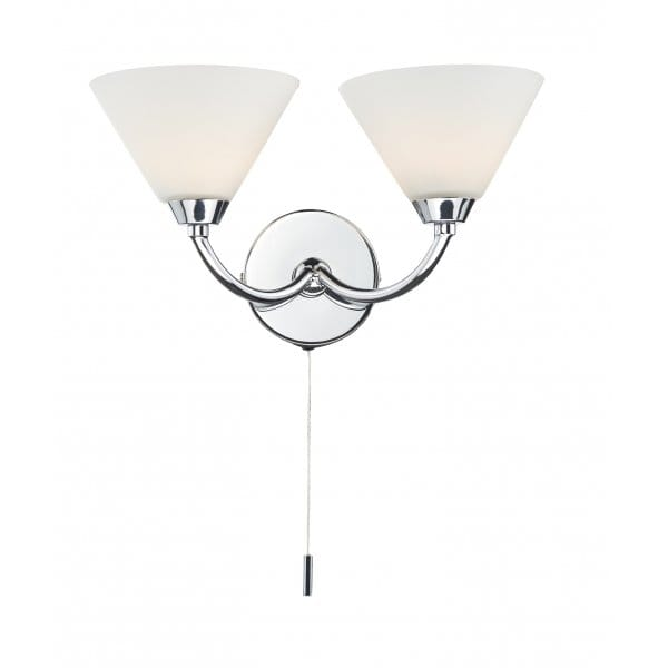 Modern Chrome Double Wall Light Double Insulated Pull Cord Operated