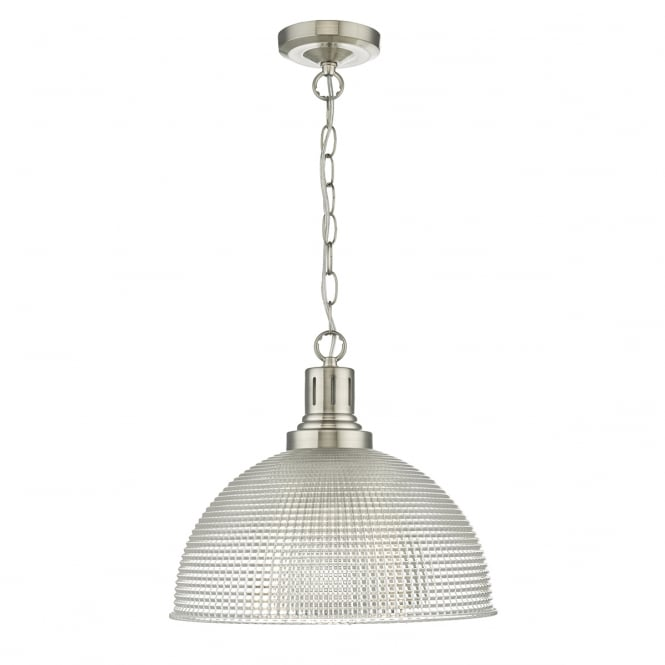 The Lighting Book HODGES industrial style prismatic glass pendant with satin nickel suspension