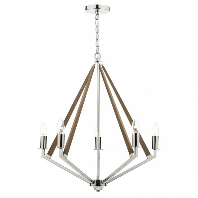 The Lighting Book HOTEL decorative modern ceiling light in polished nickel with wooden accents