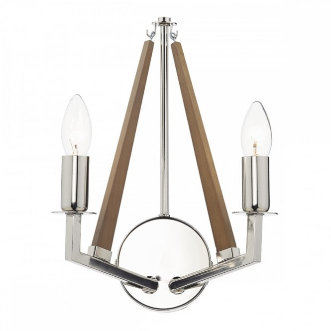 The Lighting Book HOTEL decorative modern double wall light in polished nickel with wooden accent