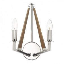 HOTEL decorative modern double wall light in polished nickel with wooden accent