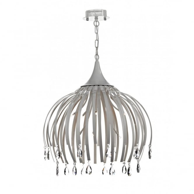 The Lighting Book HOXTON large ceiling pendant, matt white with crystal drops