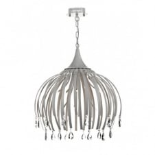 HOXTON large ceiling pendant, matt white with crystal drops