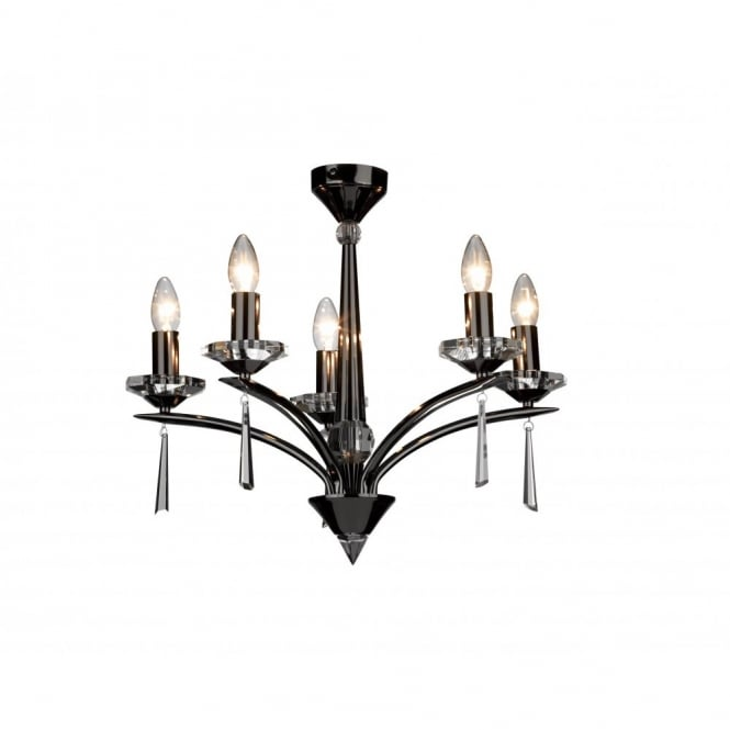 The Lighting Book HYPERION black chrome and crystal ceiling light