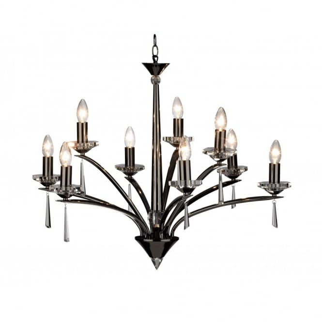 The Lighting Book HYPERION large black chrome crystal ceiling chandelier