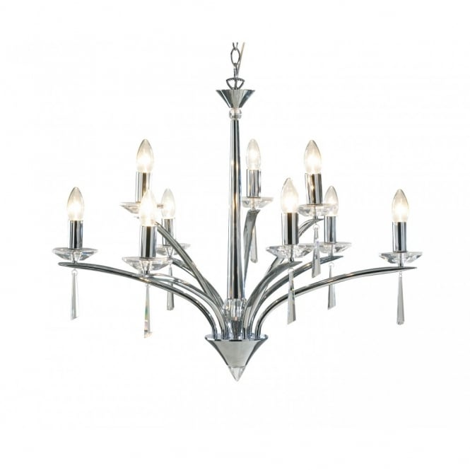 The Lighting Book HYPERION large modern chrome & crystal chandelier