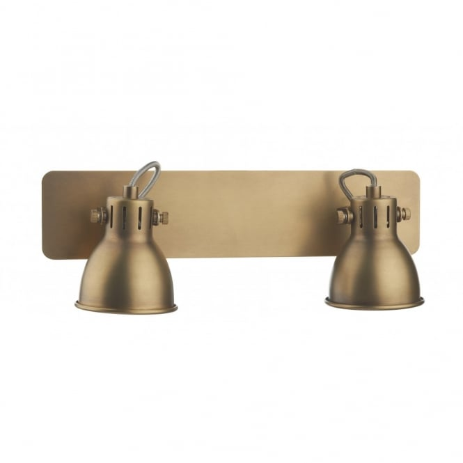 The Lighting Book IDAHO double insulated brass coloured twin spotlight bar