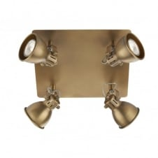 IDAHO square brass coloured ceiling light with 4 spotlights