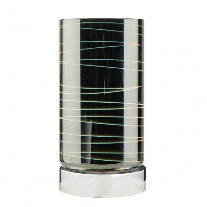 IDOL 3D polished chrome touch lamp with glass shade