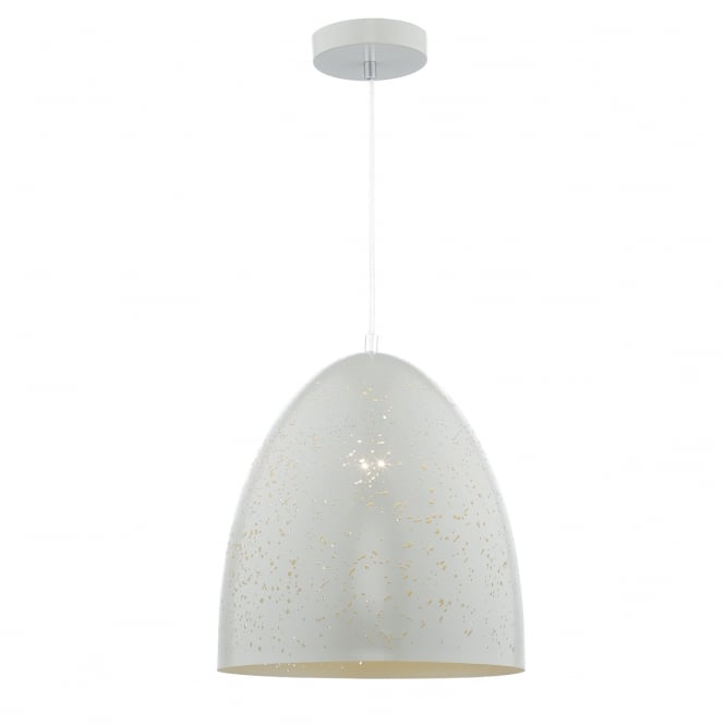 IDRIS matte white ceiling pendant with etched hole detailing