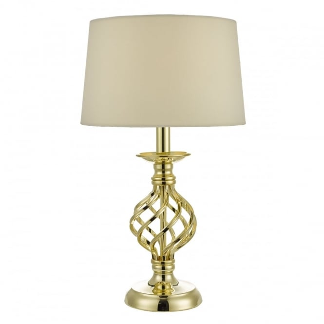 Gold Twirl Cage Table Lamp With Cream Shade