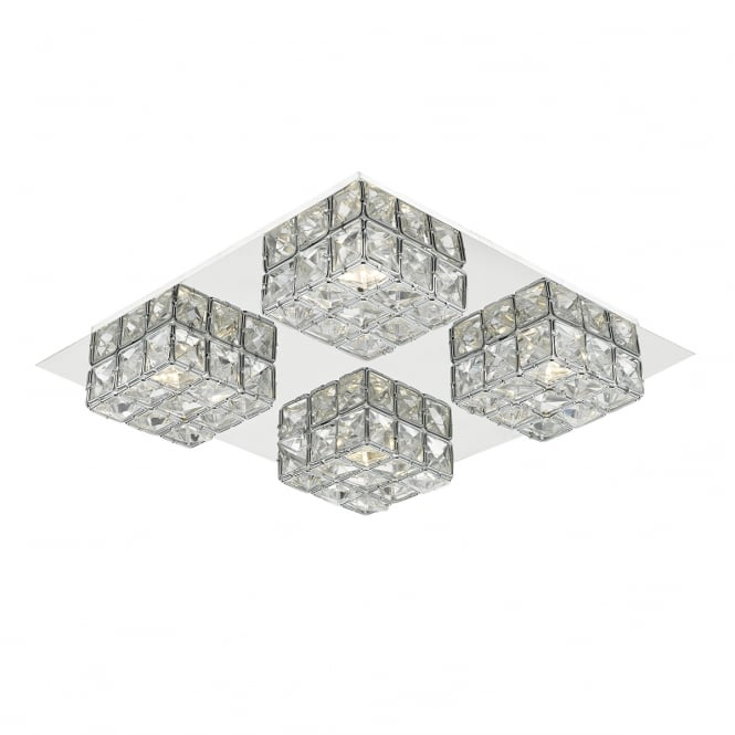 IMOGEN decorative modern 4 light chrome and clear glass LED ceiling light