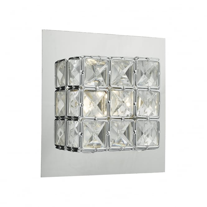 IMOGEN modern polished chrome and faceted glass LED wall light