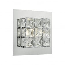 modern chrome and faceted glass LED wall light