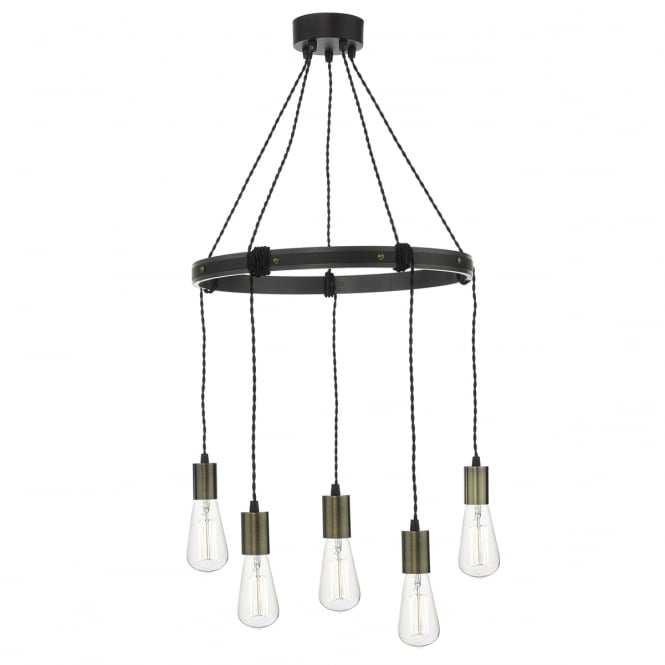 Rustic Lighting Company: Vintage Industrial Design 5 Light Ceiling Pendant Cluster