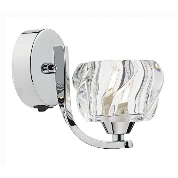 Contemporary Polished Chrome Wall Light With Crystal Glass