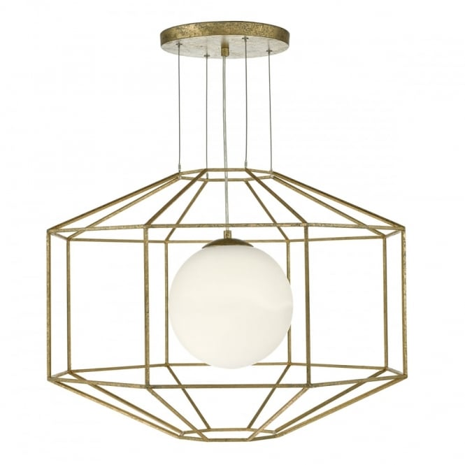 The Lighting Book IZMIR hexagonal old gold ceiling pendant with opal glass globe inner shade
