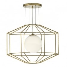 old gold geometric ceiling pendant with opal glass globe