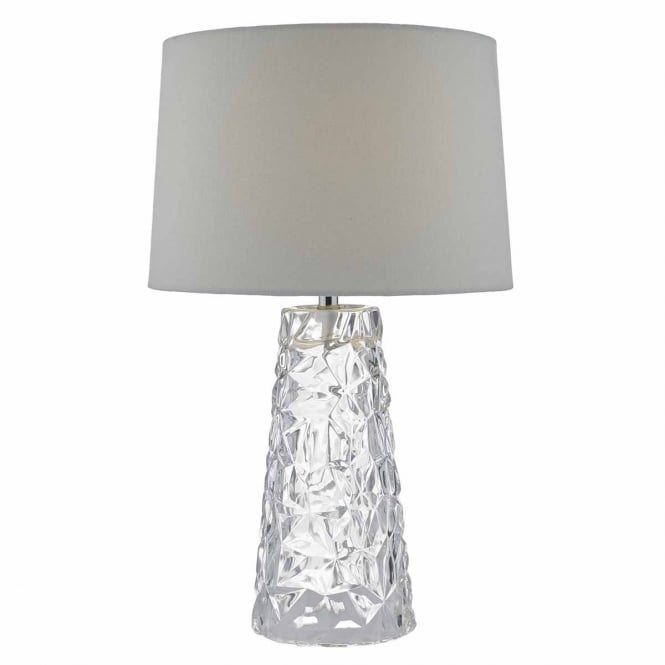 The Lighting Book JAFAR clear pressed glass table lamp with faux silk shade