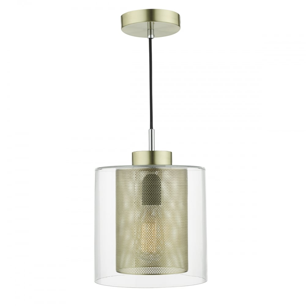 Contemporary brass mesh and clear glass ceiling pendant - Clear glass ceiling light ...