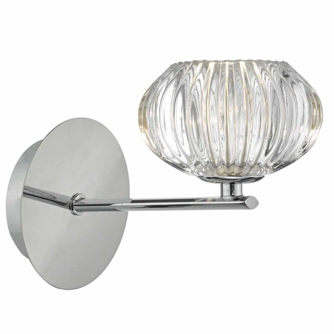 The Lighting Book JENSINE chrome wall light with faceted glass shade