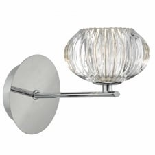 JENSINE chrome wall light with faceted glass shade