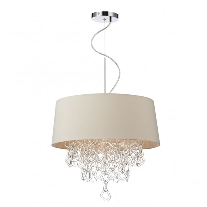 JEROME contemporary cream ceiling pendant with crystal glass decoration