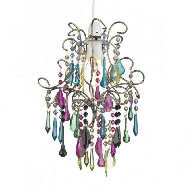 Modern multi coloured ceiling chandelier great for girls bedroom jodi easy fit multi coloured glass pendant light aloadofball Choice Image