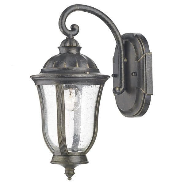 Black Amp Gold Traditional Garden Wall Light IP44 Rating
