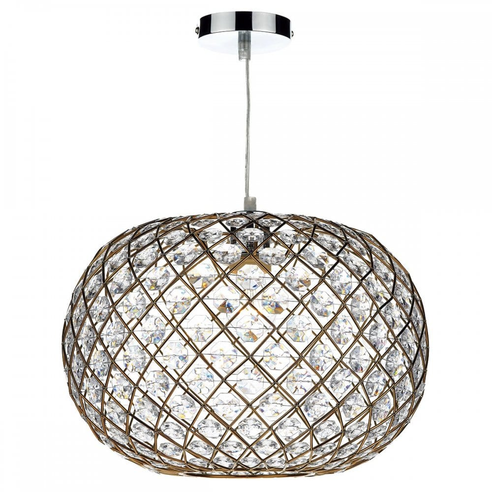 Decorative Non Electric Ceiling Pendant Shade In Gold W