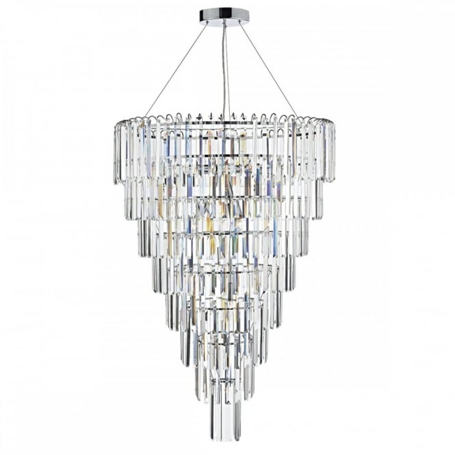 The Lighting Book JUPITER 12 light tapered tier crystal glass ceiling pendant