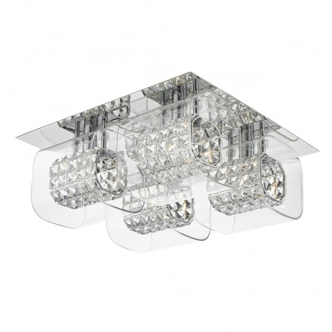 The Lighting Book KABUKI flush 4 light ceiling light in chrome with crystal bead and glass shades
