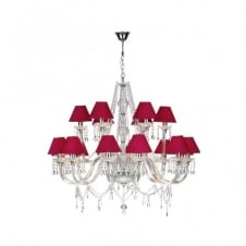 KATIE large double insulated chandelier, pink silk shades