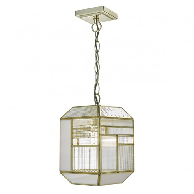 The Lighting Book KAWANA gold geometric pendant lantern with textured glass panels