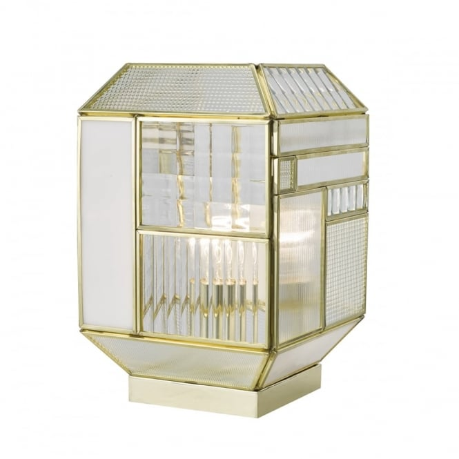 Gold geometric table lamp with textured glass panels for Textured glass panels