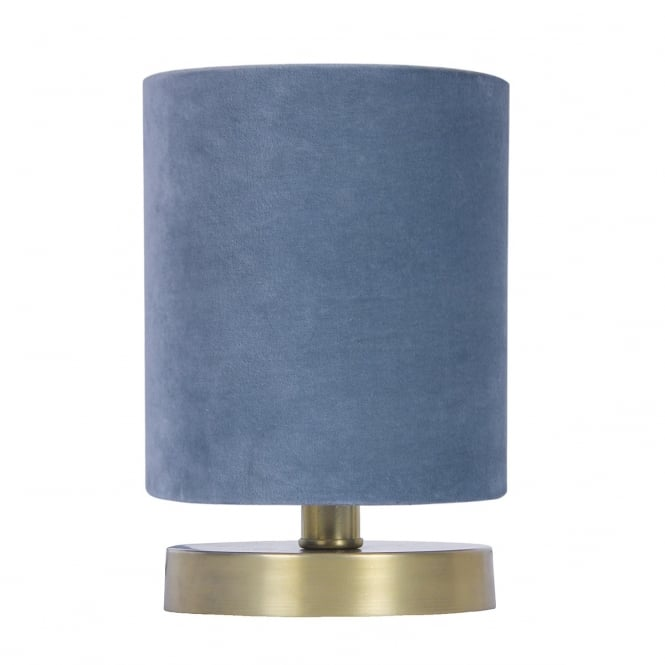 The Lighting Book KAYLA satin brass table lamp with blue velvet shade