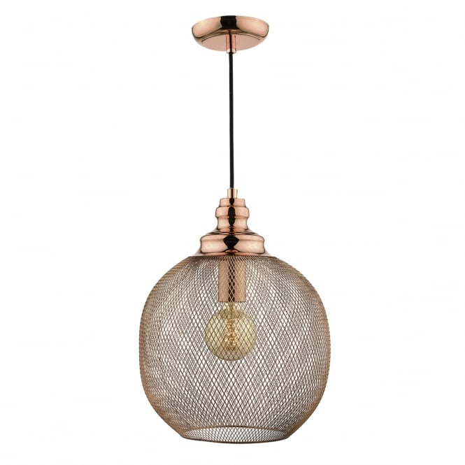 The Lighting Book KEATON copper ceiling pendant with woven sphere shade